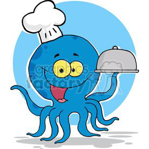 Octopus Chef Serving Food In A Sliver Platter clipart. Commercial use image # 379557