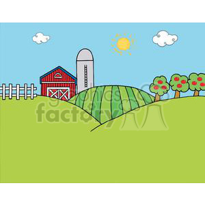 cartoon funny comical comic vector farm yard landscape scene barn