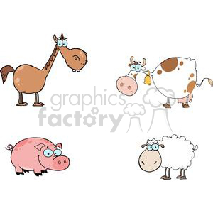 2217-Farm-Animals-Cartoon-Characters-Set clipart. Royalty-free image # 379587