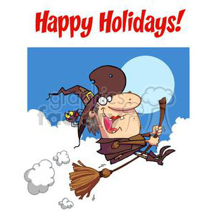 2254-Happy-Holidays-Greeting-With-Witch-rides-broom-copy1 clipart. Royalty-free image # 379592