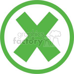 x cross crossed error oops cancel stop close circle round circled icon vector green