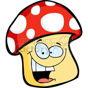 Smiling Mushroom cartoon clipart. Royalty-free image # 379627