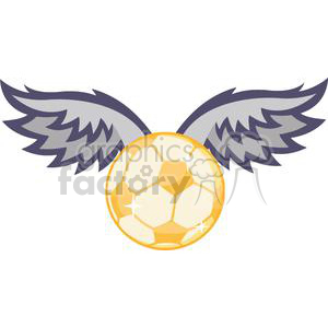 Gold Soccer ball with wings  clipart. Royalty-free image # 379637