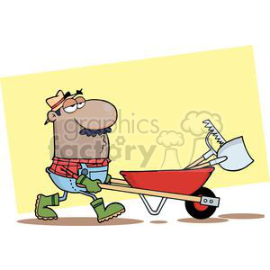 man pushing wheel barrow with garden tools  clipart. Commercial use image # 379647