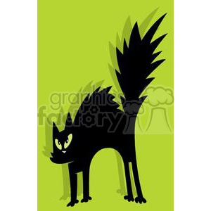 Scared black cat in green square box clipart. Royalty-free image # 379662
