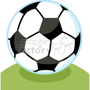 Soccer ball on green field clipart. Commercial use image # 379677