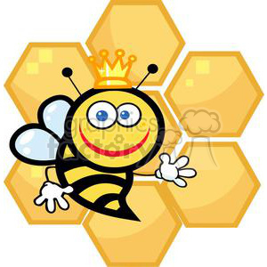 Queen Bee in front of honeycomb clipart. Royalty-free image # 379692