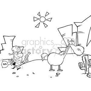 Outlaw with money bag and gun escaping to his horse in the desert clipart. Commercial use image # 379717