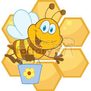 Smiling bee hold a bucket in front of honeycomb  clipart. Commercial use image # 379732