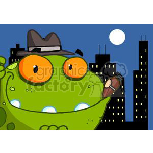 mobster frog cartoon with cigar in mouth clipart. Commercial use image # 379737