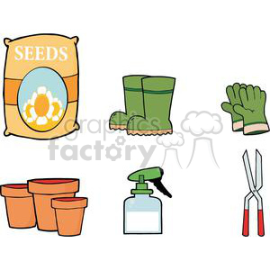 Gardening Tools Set clipart. Commercial use image # 379762