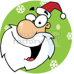 Santa Claus head in front of a green circle with snowflakes clipart. Royalty-free image # 379792