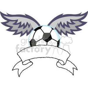 Soccer ball with wings banner clipart. Royalty-free image # 379802