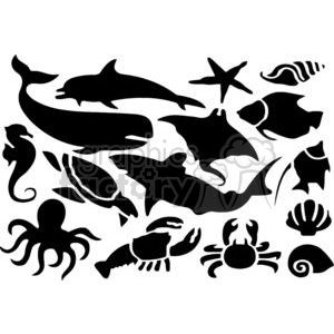 Silhouettes of Sea Animals Set clipart. Commercial use image # 379817