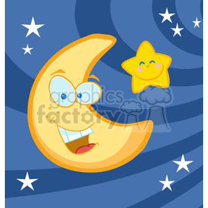happy moon and star in the night sky clipart. Commercial use image # 379822