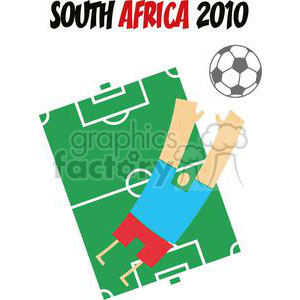 soccer Player jumping for soccer ball on a soccer field clipart. Commercial use image # 379857