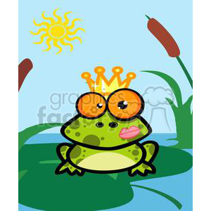 Frog prince in pond clipart. Commercial use image # 379872