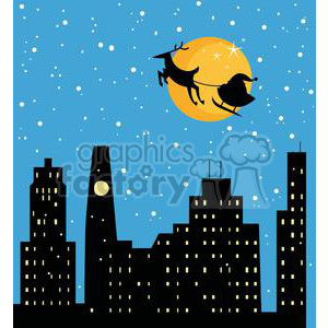 Christmas night Santa and Sleigh flying over the city clipart. Royalty-free image # 379882
