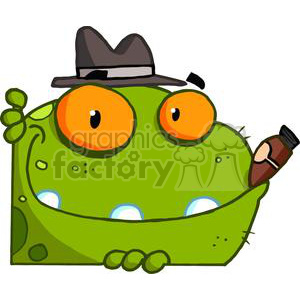 green frog with orange eyes and a cigar in its mouth clipart. Commercial use image # 379897