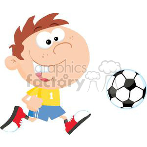 2542-Royalty-Free-Soccer-Boy-With-Ball clipart. Commercial use image # 379902