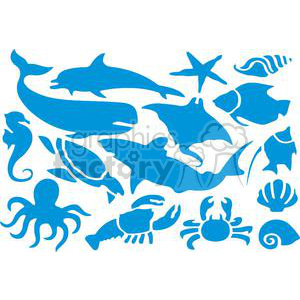 Blue Silhouettes Of Sea Animals Set clipart. Commercial use image # 379907