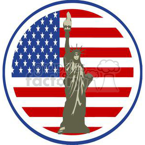 2385-Royalty-Free-State-of-Liberty-In-USA-Flag clipart. Commercial use image # 379947