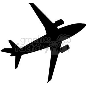 Airplane Flying Silhouette clipart. Commercial use image # 379977