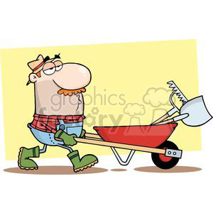 2464-Royalty-Free-Gardener-Drives-A-Barrow-With-Tools clipart. Royalty-free image # 379987