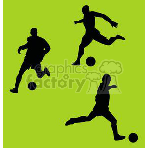 black shadows of people playing soccer with a green background clipart. Commercial use image # 379992