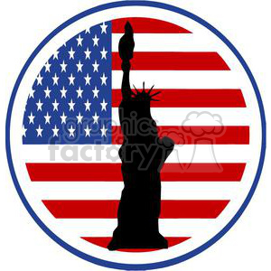2386-Royalty-Free-State-of-Liberty-Silhouette-In-USA-Flag clipart. Royalty-free image # 379997