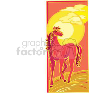 horse during sunset clipart. Commercial use image # 380019
