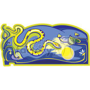 snake lit up by the moon clipart. Commercial use image # 380029