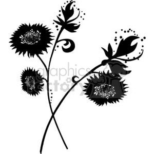 87-flowers-bw clipart. Commercial use image # 380064