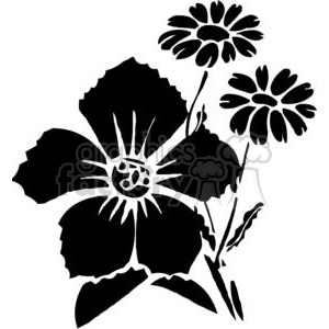 63-flowers-bw clipart. Commercial use image # 380074