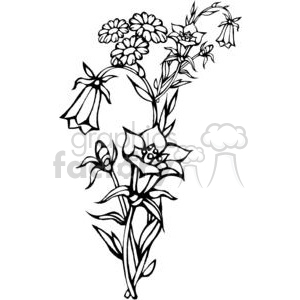 44-flowers-bw clipart. Commercial use image # 380089