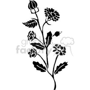 10-flowers-bw clipart. Commercial use image # 380094