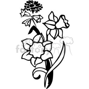 15-flowers-bw clipart. Commercial use image # 380109