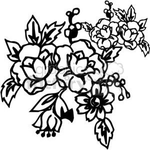 73-flowers-bw clipart. Commercial use image # 380119