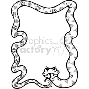 cartoon black white rattle snake snakes frame frames border borders