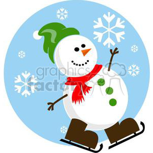 snowman with green hat and brown skates clipart. Commercial use image # 381022