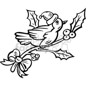 Christmas bird on a tree branch clipart. Royalty-free image # 381109