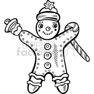 Christmas Xmas Holidays Happy Festive Black White cute funny cartoon vector royalty-free gingerbread man