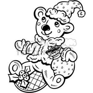 Christmas bear clipart. Commercial use image # 381149
