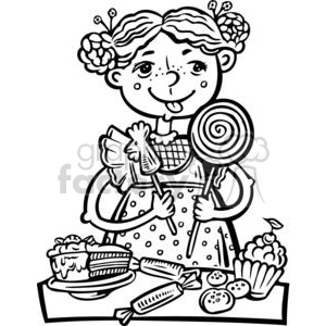 girl eating a lot of candy and snacks clipart. Royalty-free image # 381520