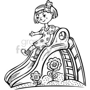 girl playing on a slide clipart. Royalty-free image # 381530