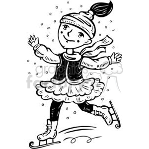 cartoon children child kid kids people little black white girl girls ice skating skater skaters winter