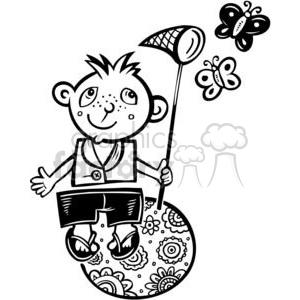 boy catching butterflies clipart. Commercial use image # 381545