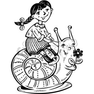 cartoon children child kid kids people little black white girl girls riding snail snails animal animals slug fantasy fiction stories