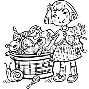 girl next to her toy box clipart. Commercial use image # 381570