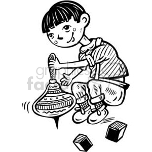 boy playing with spinning tops clipart. Royalty-free icon # 381580